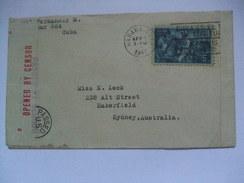 CUBA 1942 Censor Cover Habana To Sydney Australia With Opened, Examined And Passed Censor Marks - Cuba