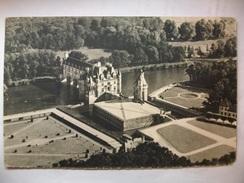 Carte Postale Chenonceaux (36) Le Chateau Vu D'un Avion Air France -Tampon Souvenir Du Sommet De La Tour Eiffel 1955 - Chenonceaux