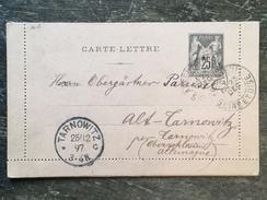 E5 France Frankreich Entier Postal Stationery Ganzsache 97-CL2 D'Argenteuil Pour Tarnowitz Haute-Silesie Oberschlesien - Entiers Postaux