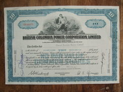 British Columbia Power Corporation Limited 1957 10 Shares - Electricity & Gas