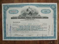 British Columbia Power Corporation Limited 1957 10 Shares - Electricité & Gaz