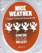 NEW UNUSED - DANCING DUCK BREWERY (DERBY, ENGLAND) - NICE WEATHER COPPER SESSION ALE - PUMP CLIP FRONT - Signs