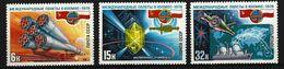 SOWJETUNION - Mi-Nr. 4735 - 4737 Interkosmosprogramm: Gemeinsamer Weltraumflug UdSSR-Polen Postfrisch - Raumfahrt