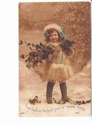 MES VOEUX DE BONHEUR POUR LA NOUVELLE ANNEE, Petite Fille En Manteau De Fourrure, Toque, Sac, Gui Et Roses, Ed. JK 1917 - Nouvel An