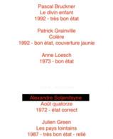 Lot 6 Livres Éditions Du Seuil : P.  Bruckner/P.  Grainville/A.  Loesch/H.  Lieberman/A. Soljenitsyne/J.  Green - Books, Magazines, Comics