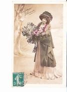 JOYEUSE ANNEE, Jeune Femme Au Bouquet De Gui Et De Roses, Ed. ? 1911 - Nouvel An