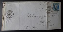 Lettre Enveloppe - GC 842 Sur 20c Bleu Napoléon III YT N° 14 - Année 1869 - 1849-1876: Classic Period