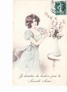 JE DISTRIBUE DU BONHEUR POUR LA NOUVELLE ANNEE, Jeune Femme Et Vase De Roses, Dessin Signé (illisible), Ed. G.E.1908 - Nouvel An