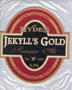 NEW UNUSED - HYDES BREWERY (MANCHESTER, ENGLAND) - JEKYLL'S GOLD PREMIUM ALE - PUMP CLIP FRONT - Signs