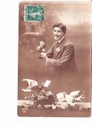 COLOMBE PORTEUSE DE MISSIVE, Jeune Amoureux Et Roses, Ed. Rex 1914 - Nouvel An