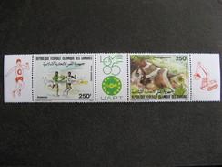 Comores: TB Triptyque PA N° 218 A, Neuf XX. Vignette LOME 85. - Comores (1975-...)