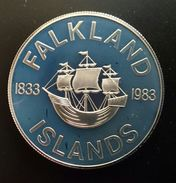 """Falkland Islands 50 Pence 1983 SILVER PROOF """"150th Anniversary Of British Rule""""  (free Shipping Via Registered Air Mail) - Falkland Islands"""