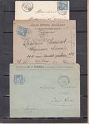 SAGE 15c  Bleu   Lot De 4 Lettres  1890 A 1900 - 1876-1898 Sage (Tipo II)