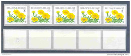 OCB Nr 3824 ( R116 ) Flora Tagetes Patula Strook Van 5 Zegels MET Nummer AVEC Numéro (Number Will Be Different) - Franqueo