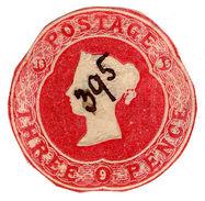 (I.B) QV Postal : Stationery Die 3d (Printer's Day Book Sample) - 1840-1901 (Victoria)