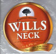 NEW UNUSED - QUANTOCK BREWERY (WELLINGTON, ENGLAND) - WILLS NECK GOLDEN ALE - PUMP CLIP FRONT - Signs
