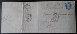 Lettre Enveloppe - 25c Bleu Cérès YT N° 60 - Année 1875 - 1849-1876: Classic Period