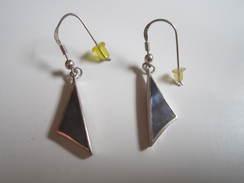 Boucles D'Oreilles Pendante Argent Massif 925 Triangle - Earrings
