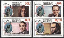 MALDIVES, 1986, STATUE OF LIBERTY, JOHN LENNON, YV#1055-58, MNH - Muziek