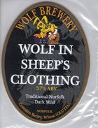 NEW UNUSED - WOLF BREWERY (ATTLEBOROUGH, ENGLAND) - WOLF IN SHEEP'S CLOTHING DARK MILD - PUMP CLIP FRONT - Signs