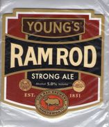 NEW UNUSED - YOUNG'S BREWERY (WANDSWORTH, ENGLAND) - RAM ROD STRONG ALE - PUMP CLIP FRONT - Signs