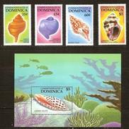 Dominica 1987 Yvertn° 957-960 Et Bloc 119 *** MNH Cote 90 FF Faune Marine Coquillages Schelpen - Dominique (1978-...)