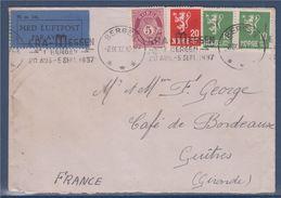 Enveloppe 4 Timbres Norvège Destination France Bergen 2.IX.37 Cachet Le Bourget Port Aérien 3.9.37 - Norvège