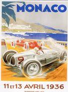 Grand Prix De Monaco 1936  -  Auto Union  -  Artwork Par Geo Ham  -  Plaque Métal 20 X 15 Cms  -  Neuf! - Advertising (Porcelain) Signs