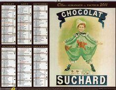 """Calendrier Almanach La Poste PTT 2011 Affiches Anciennes Rétro. Chocolat SUCHARD, La Culotte """"PETIT BATEAU"""" - Big : 1991-00"""