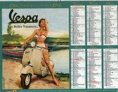 Calendrier Almanach La Poste PTT 2012 Affiches Anciennes Rétro VESPA Les Belles Vacances Et COPPERTONE - Big : 1991-00