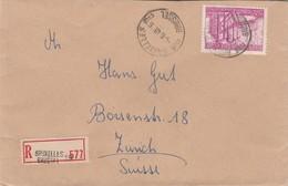 6fr30 Als Enkelfrankering (RR) Op Recobrief Brussel 19 Naar Zurich 1948. - 1948 Exportation
