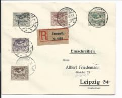 Dt. Abstimmgeb. Schlesien 17-19 MiF ,50 Pf  Einschreiben-Brief Von Tarnowitz Nach Leipzig Verwendet - Territoires Soumis à Plébiscite