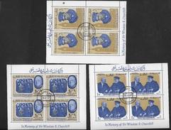 RAS AL KHAIMA 1965 3 BLOCS-FEUILLETS CHURCHILL YVERT N° B4 B5 B6   Voir 4 PHOTOS - Sir Winston Churchill