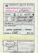 ABBONEMENTO FERROVIE DELLO STATO - Abbonamenti
