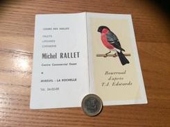 Calendrier 1970 « Michel RALLET MIREUIL LA ROCHELLE (17) / Bouvreuil D'après Edwards (oiseau)» - Calendriers