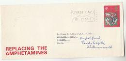 1970 GB ADVERT COVER  'REPLACING The AMPHETAMINES ' Pharmacy Health Medicine Drug Addiction, Stamps Christmas Fdc - Droga