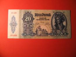 BANCONOTA   20 USZPENGO MAGYAR NEMZETY BANK  1941 - Ungheria