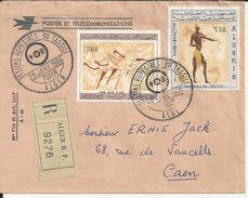 ALGERIE ENVELOPPE 1 ER JOUR DESSINS RUPESTRES DU TASSILI ANNEE 1966 VIGNETTE R N° 9276 ALGER R P ENVOYE A CAEN - Algerije (1962-...)