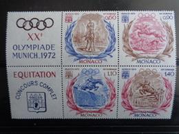 MONACO 1972  Y&T N° 890 à 893 ** - XXe OLYMPIADE DE MUNICH, CONCOURS D'EQUITATION - Monaco