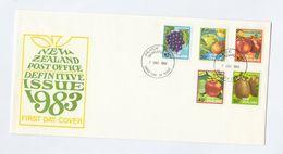 1983 NEW ZEALAND FDC Stamps FRUIT Grapes Apple Orange Kiwi Apple Cover - Fruits