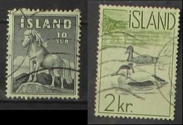 Islanda 1958 Horse Pony 10 Aur 1959 Birds 2 Kr. Used - 1944-... Repubblica