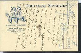 Carte SUCHARD - Chocolat   Obl. Villeneuve Le 31/03/1913 - Entiers Postaux