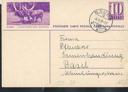 Carte Illust. N° 139 - 037  BASEL  -  ZOOLOGISCHER GARTEN  Obl. Bauma 08/02/1939 (petit Pli En Bas à Droite) - Vaches