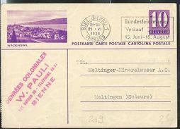 Carte Illust. N° 139 - 0209  WÄDENSWIL  Obl: Biel-Bienne 21/06/1938 - Entiers Postaux