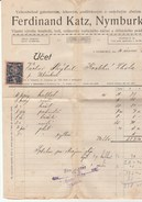 1921 Nymburk CZECHOSLOVAKIA  20h REVENUE Stamps On DOCUMENT Receipt Fiscal Heraldic Lion - Covers & Documents