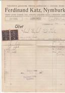 1921 Nymburk CZECHOSLOVAKIA  2x 10h REVENUE Stamps On DOCUMENT Receipt Fiscal Heraldic Lion - Czechoslovakia