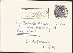 J) 1960 ITALY, SYRACUSE COIN, WITH SLOGAN CANCELLATION, AIRMAIL, CIRCULATED COVER, FROM ROMA TO CALFORNIA - Italy