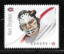 CANADA 2015, #2867i,   NHL  CANADIAN GOALIES:   Montreal Canadians KEN DRYDEN Single  DIE CUT FR QUARTELY PACK - Carnets