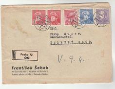 1946 REGISTERED Praha CZECHOSLOVAKIA COVER FRANTISEK SEBEK Co To Zelezny Brod Stamps 4k 2k 1k 2x 20h Stamps - Czechoslovakia