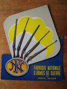 Superbe Carton Publicitaire Original FABRIQUE NATIONALE D'ARMES DE GUERRE à HERSTAL - Targhe Di Cartone